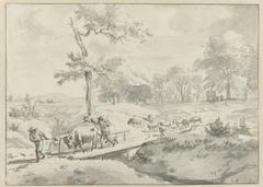 Landschap met herders bij een bruggetje