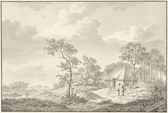 Landschap met rechts een dorpsstraat en verschillende personen