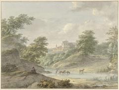 Landschap met zittende tekenaar en kasteel aan water