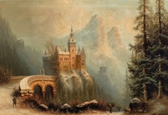 Large Winter Landscape with Castle in the Mountains