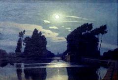 Lever de Lune sur un canal