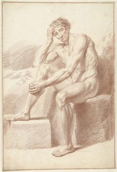 Mannelijk naakt, zittend met opgetrokken knieën
