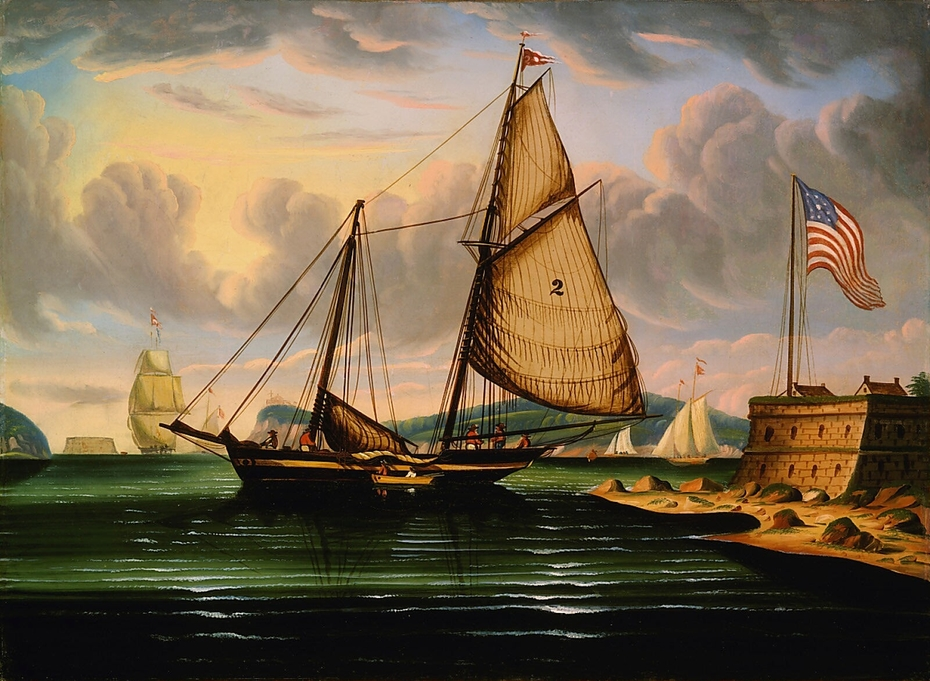 "New York Harbor with Pilot Boat ""George Washington"""