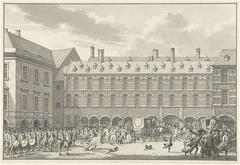 Ongeregeldheden als de Gedeputeerden van Dordrecht door de Stadhouderspoort rijden op het Binnenhof, 1786