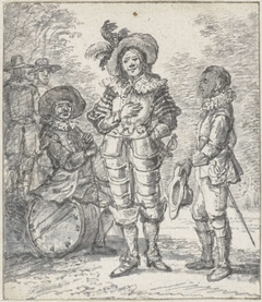 Ontwerp voor illustratie toneelgroep: twee staande figuren en een zittende figuur