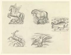 Ontwerpen voor een watermerk van een bankbiljet: vijf ontwerpen op een blad, Pegasus, paard met veulen, vis, hert en meeuw