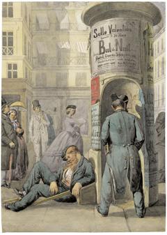 Pariser Straßenszene mit Plakatsäule