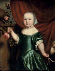 Portrait of a girl in a green dress, holding a rose