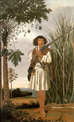 Portrait of a mulatto man with rifle and sword