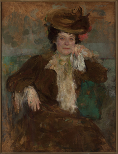 Portrait of a woman in a brown dress