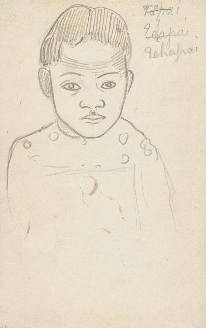 Portret van een jongetje in Tahiti