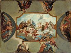 Reverence to Elector Johann Wilhelm von der Pfalz – Design for a Ceiling Painting for Bensberg Castl...