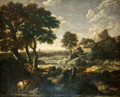 River Landscape with a Hunt