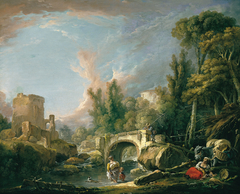 River Landscape with Ruin and Bridge