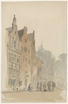 Ronde Lutherse kerk en enige huizen te Amsterdam