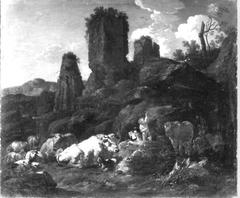 Ruhende Hirtin und Viehherde vor Felsen und Ruinen