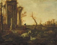 Ruin with Shepherd and Goats