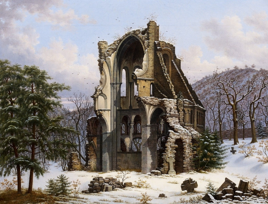 Ruins of Heisterbach Abbey in Winter