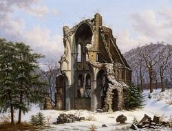 Ruins of Heisterbach Abbey in Winter