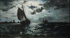 Sailing Vessel in Moonlight