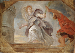 Saint Barbara fleeing from her Father