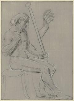 Schets van een zittend mannelijk naakt en een detailschets van een hand