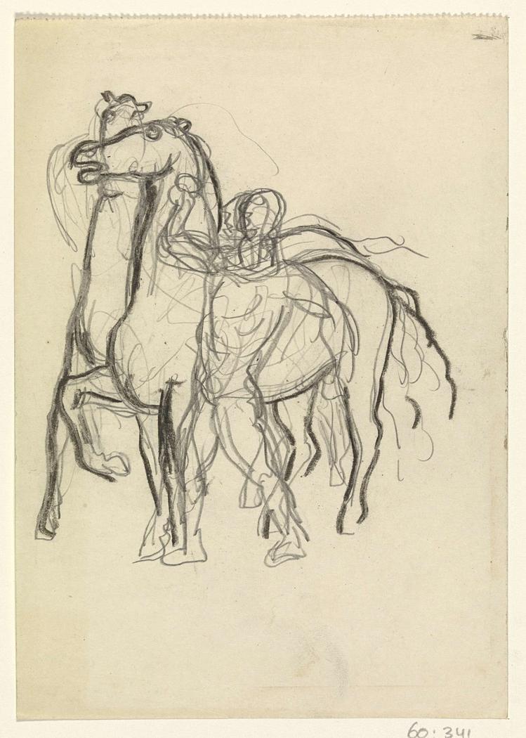 Schetsblad met man die twee paarden in toom houdt