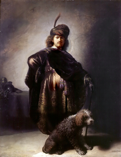 Self-portrait in oriental attire with poodle