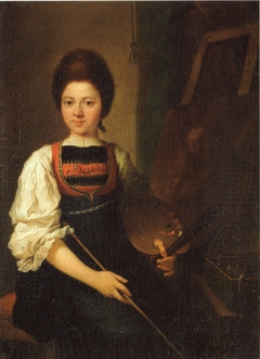 Self-Portrait in the Traditonal Costume of the Bregenz Forest, Seated at her Easel