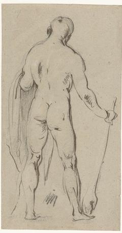 Staand mannelijk naakt, op de rug gezien (Hercules?)