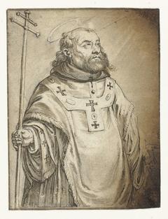 Staande mannelijke heilige, ten halven lijve (de H. Bonaventura?)