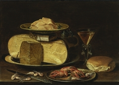 Still life with cheesestack and crayfish