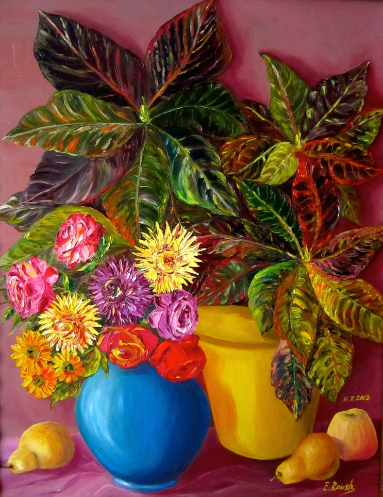 Still life with Croton Plant