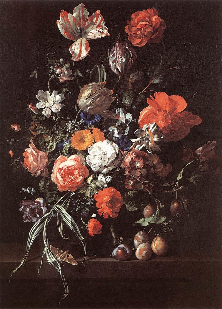 Still-Life with Flower Bouquet and Plums