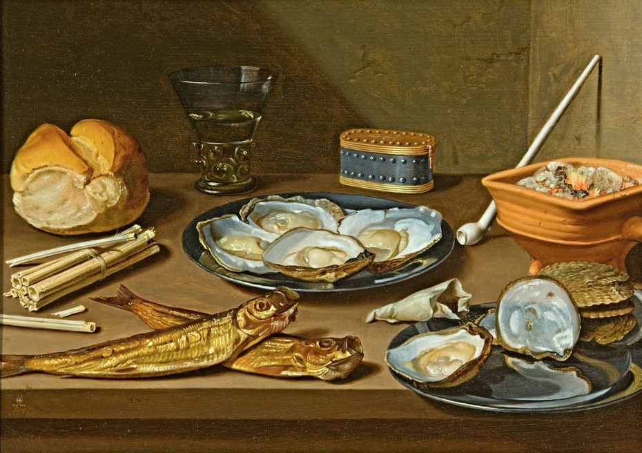 Still Life with smoked herring, oysters and smoker's gear