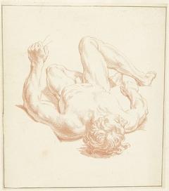 Studie van mannelijk naakt, liggend op de rug, in het verkort weergegeven