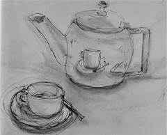 Teapot in Aix, pen and ink, and pencil
