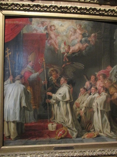 The archangel Michael supports the blessed Waltmann, who is being consecrated abbot by Saint Norbert