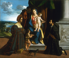 The Holy Family, with the Young Saint John the Baptist, a Cat, and Two Donors