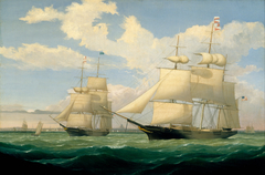 """The Ships """"Winged Arrow"""" and """"Southern Cross"""" in Boston Harbor"""