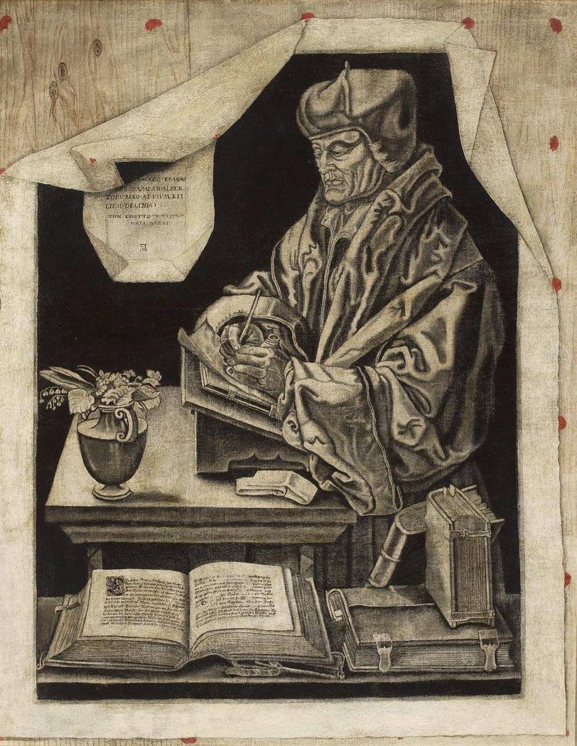 Trompe l'oeil with Erasmus of Rotterdam.