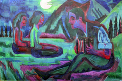 Accordion Player by Moonlight