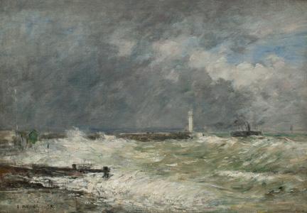 Entrée des jetées du Havre par gros temps