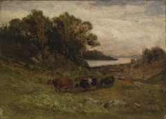 Untitled (five cows grazing with trees and river in background)
