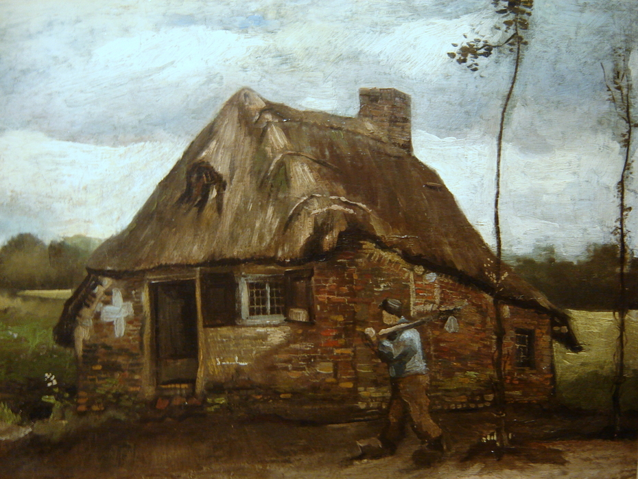Cottage with a Peasant Coming Back Home