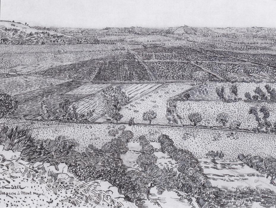 "The plain ""La Crau"" near Arles, seen from Montmajour"