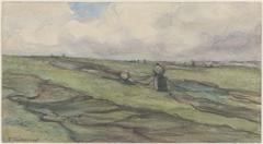 Vissersvrouwen die visnetten herstellen