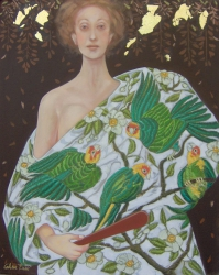 WHITE SHAWL WITH GREEN PARROTS