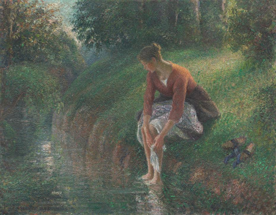 Woman Bathing Her Feet in a Brook