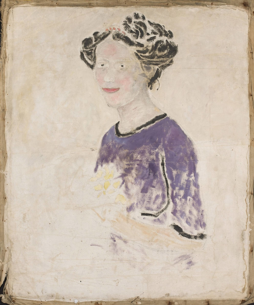 Woman in a lilac dress